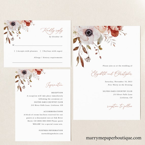 Fall Wedding Invitation Template Set, Fall Floral, Wedding Invitation Suite, Printable, Editable, Templett INSTANT Download