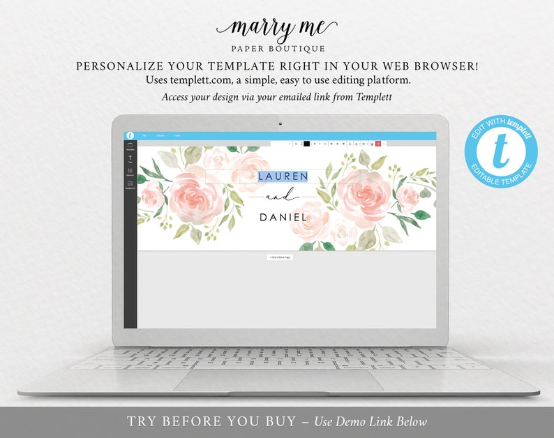 Instant Download Pink /& Blush Floral 100/% Editable TRY BEFORE You BUY Elegant Label Printable Wedding Water Bottle Label Template