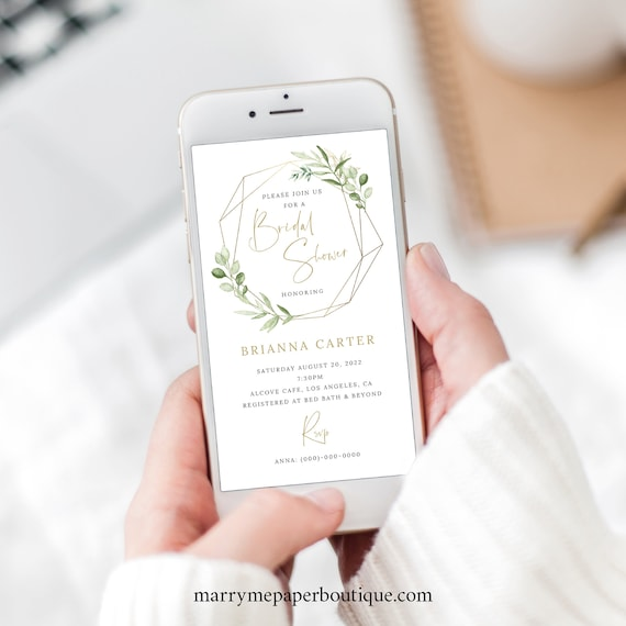 Bridal Shower Text Invitation Template, Greenery & Gold, Editable Electronic Invite, Instant Download, Templett