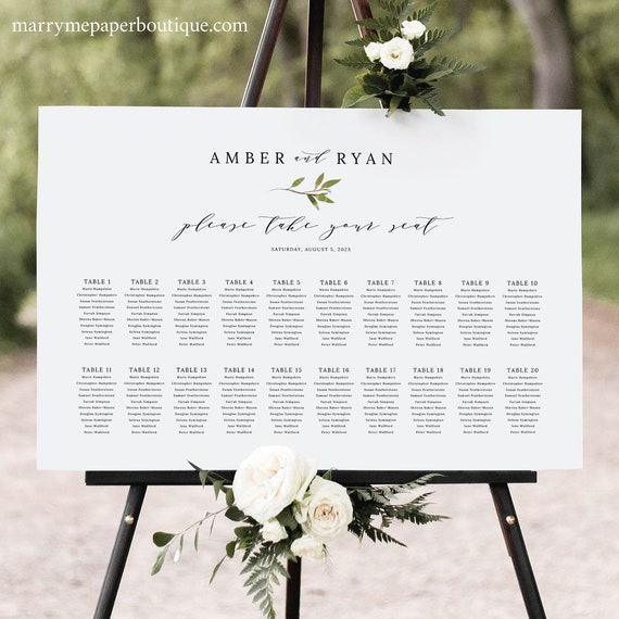 Wedding Seating Chart Template, Elegant Green Leaf, Greenery Seating Plan Sign, Printable, Editable Poster, Templett INSTANT Download