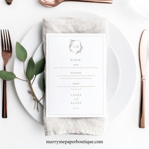 Wedding Menu Card Template, Botanical Wedding Crest, Wedding Table Menu, Wedding Monogram Menu, Printable, Templett INSTANT Download