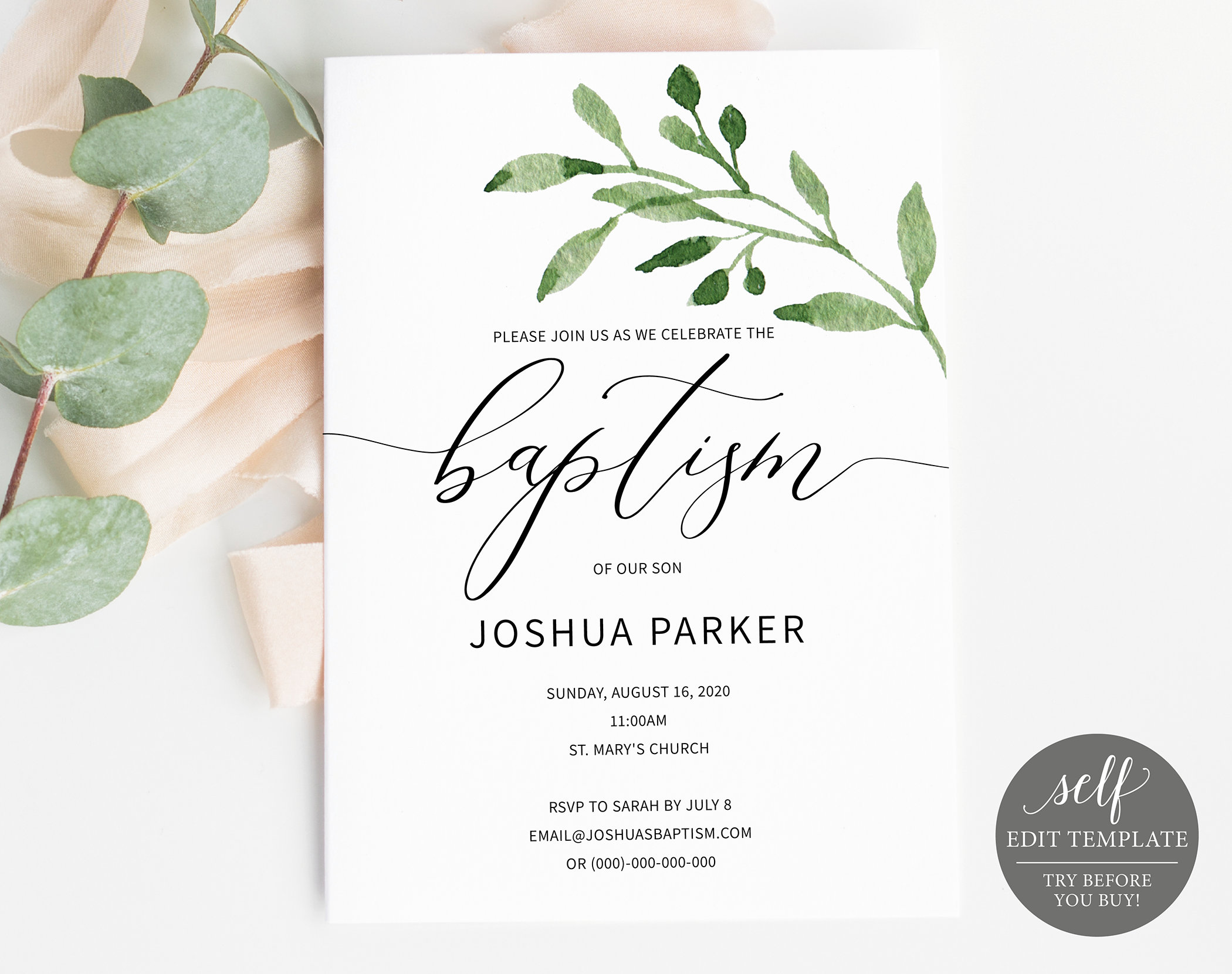 Baptism Invitation Template, TRY BEFORE You Buy! Printable Baptism ...