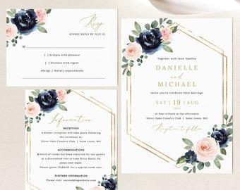 Wedding Invitation Template Set, Navy & Blush Floral, Wedding Invite Suite Printables, RSVP, Details, Templett INSTANT Download