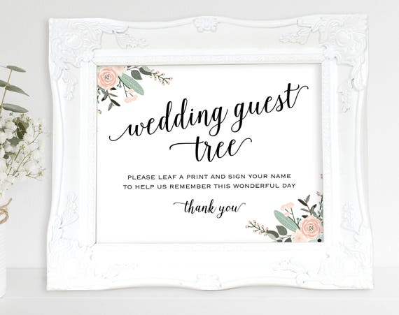 Floral Guest Tree Sign, Leaf a Print and Sign Your Name, Wedding Sign, Wedding Printable, Tree Sign, PDF Instant Download, MM01-6