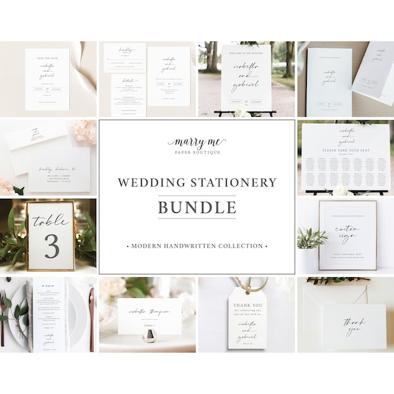 Wedding Bundle Templates, Try Before Purchase, Templett Instant Download, Wedding Invitation Suite Template Bundle, Handwritten Style