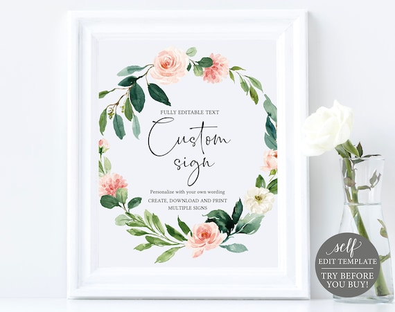 Create Multiple Wedding Signs! Pink Floral Greenery Template, Instant Download, TRY BEFORE You BUY