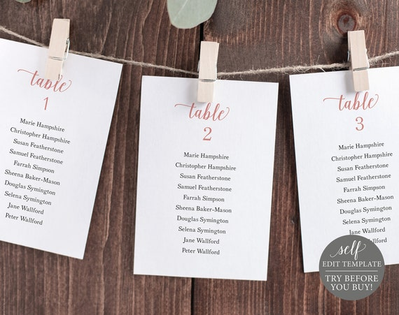 Wedding Seating Chart Template, Rose Gold Script, 100% Editable Instant Download, TRY BEFORE You BUY