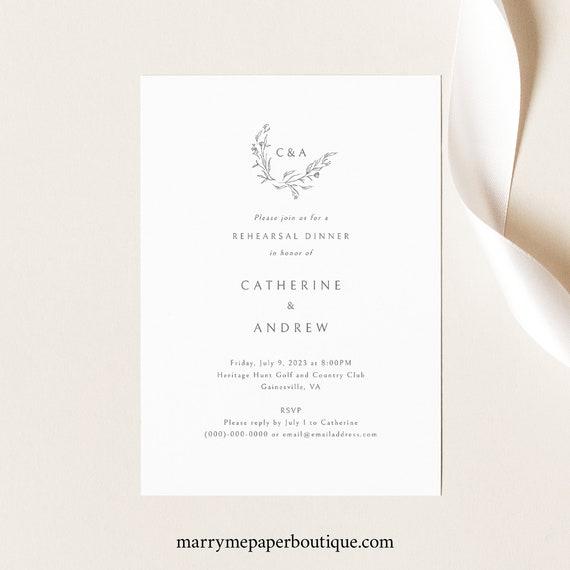 Wedding Rehearsal Dinner Invitation Template, Elegant Monogram, Printable Rehearsal Dinner Invite, Templett INSTANT Download, Editable