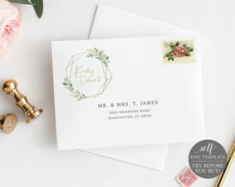 Envelope Address Template, Greenery & Gold, Editable Printable Instant Download, Demo Available, Templett