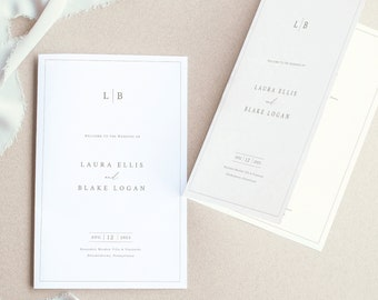 Wedding Program Template, Monogram & Border, Elegant Folding Wedding Ceremony Program, Printable, Editable, Templett INSTANT Download