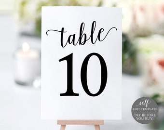 Table Number Template, Table Numbers, Printable Table Numbers, Table Numbers Wedding, Calligraphy, 4x6, 5x7, Instant Download