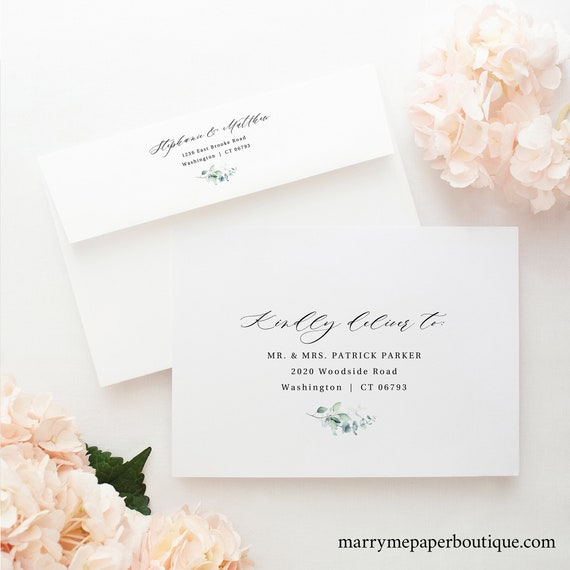 Wedding Envelope Address Template, Green Leaves, Printable Wedding Address for Envelopes, Editable, Templett INSTANT Download