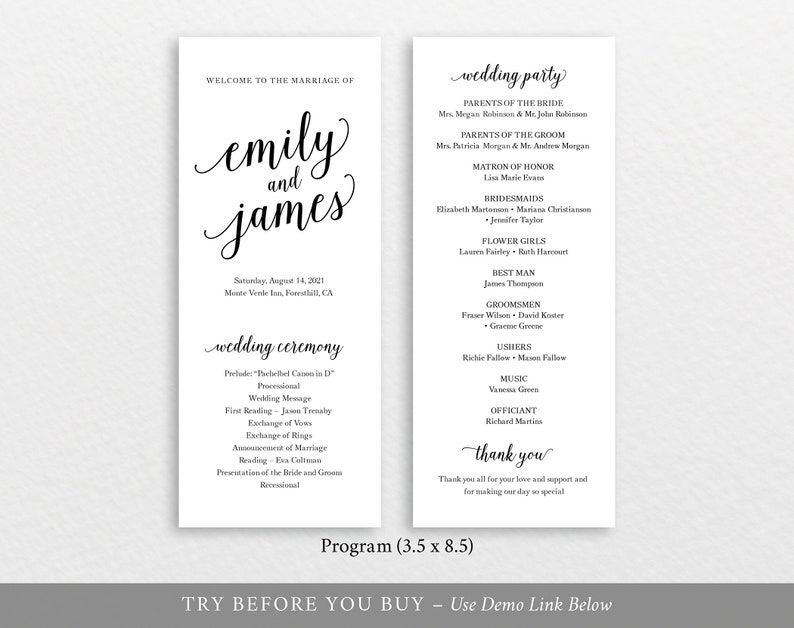 Wedding Program Template Modern Script TRY BEFORE You BUY 100/% Editable Instant Download