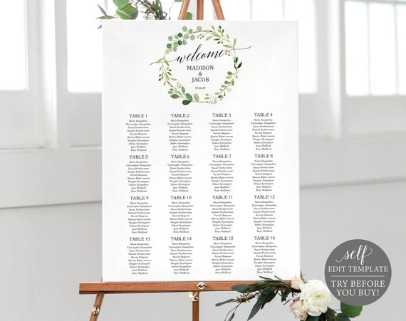 Greenery Seating Plan Template, Fully Editable Wedding Chart Printable, Instant Download, TRY BEFORE You BUY