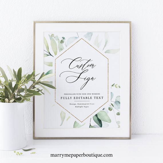 Wedding Sign Bundle Template, Classic Greenery, Printable Wedding Signs, Templett INSTANT Download, Editable