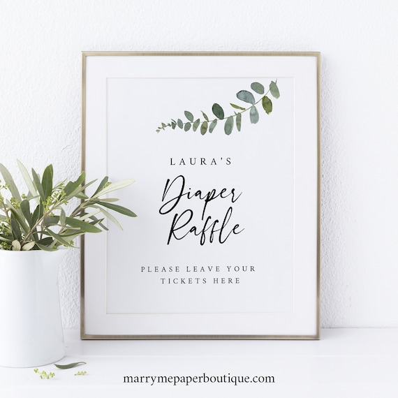 Diaper Raffle Sign and Ticket Template Set, Eucalyptus  Greenery, Baby Shower Raffle, Printable, Editable, Templett INSTANT Download
