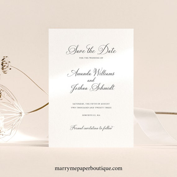 Elegant Save the Date Card Template, Traditional, Calligraphy, Save Our Date,  Printable, Templett INSTANT Download, Fully Editable