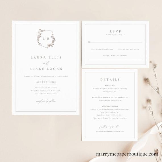 Wedding Invitation Template Set, Botanical Crest, Printable Wedding Invitation Suite, Fully Editable, Templett INSTANT Download