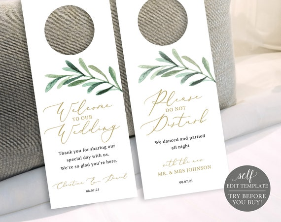 Door Hanger Template, Greenery Olive Branch, Editable Instant Download, TRY BEFORE You BUY