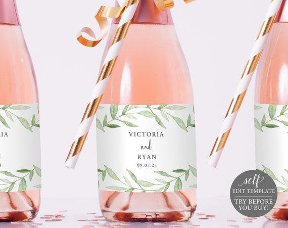 Mini Champagne Label Template, Greenery Leaves, TRY BEFORE You BUY, Editable Instant Download