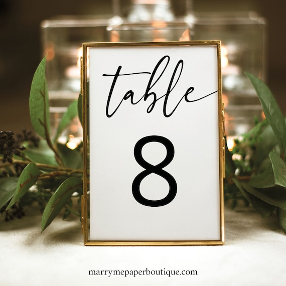 Table Number Sign Template, Modern Calligraphy, Instant Download, Templett, Try Before You Buy, Editable & Printable