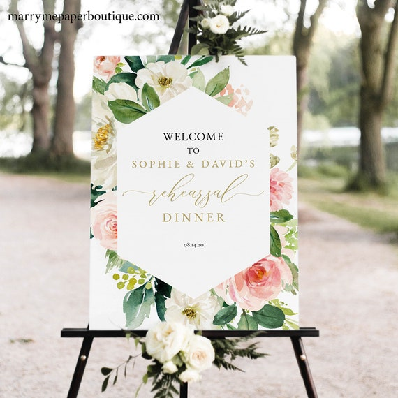 Floral Rehearsal Dinner Welcome Sign Template, Blush & White Flowers, Printable Rehearsal Dinner Sign, Editable Templett, INSTANT Download