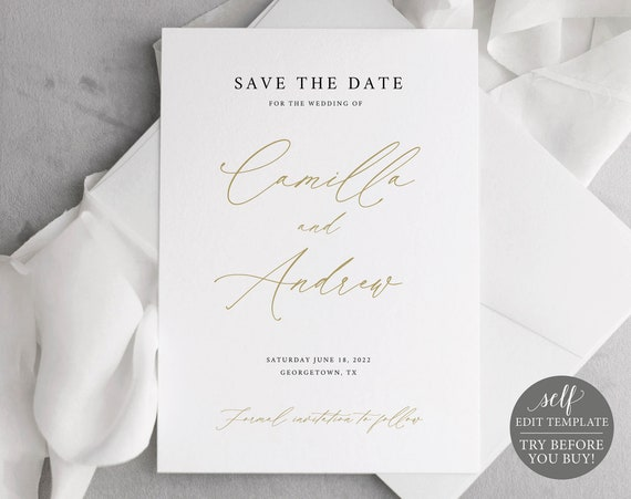 Save the Date Template, Stylish Script Gold, Editable & Printable Instant Download, Demo Available, Templett