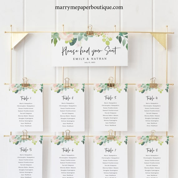 Wedding Seating Chart Cards Template, Succulant Floral, Seating Cards Printable, Editable Seating Plan Cards, Templett INSTANT Download