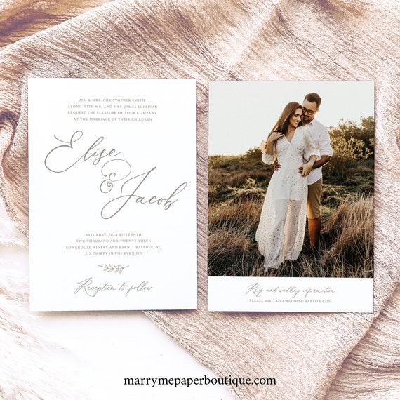 Wedding Invitation Template, Elegant Wedding Font, Two Page Wedding Invitation, Printable, Templett INSTANT Download, Editable, Double Sided