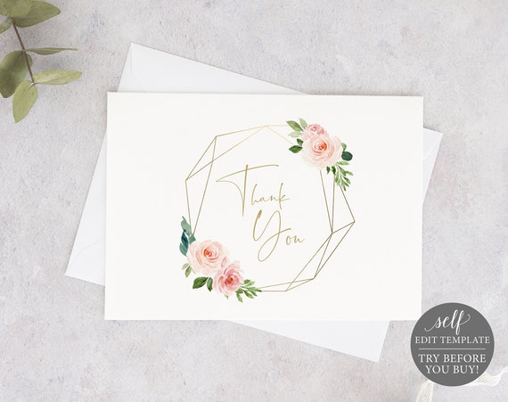 Thank You Card Template, Blush Pink Geometric, Demo Available, Order Edit & Download In Minutes