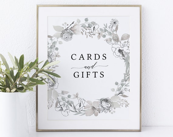 Cards & Gifts Sign Template, Non-Editable Instant Download, Neutral Floral