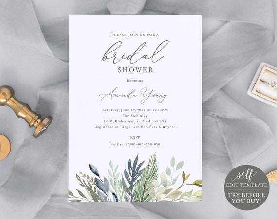 Bridal Shower Invite Template, TRY BEFORE You BUY, 100% Editable Instant Download, Green & Blue Foliage