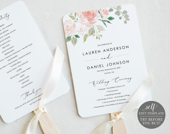 Floral Wedding Program Fan, Printable Program Fan Template, Printable Wedding Fan, Ceremony Fan, Calligraphy, Instant Download, MM08-3