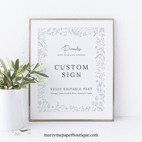 Winter Wedding Sign Bundle Template, Botanical Wedding Signs Printable, INSTANT Download, Fully Editable, Templett
