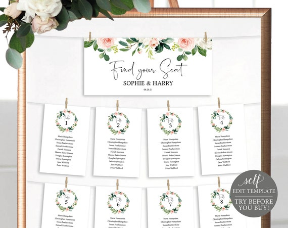 Seating Chart Sign Template, Editable Instant Download, TRY BEFORE You BUY, Floral Greenery