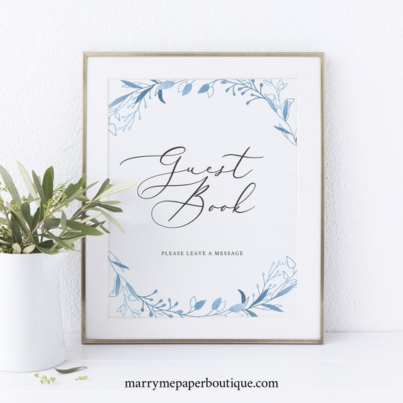 Guest Book Sign Template, Blue Foliage, Instant Download, Printable, Non-Editable