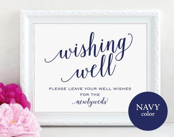 Wishing Well Sign, Wedding Sign, Wedding Printable Sign, Navy Wishing Well, Wedding Template, Newlyweds, DIY, PDF Instant Download, MM01-4