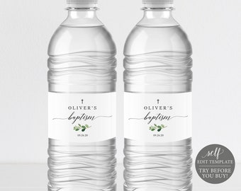 Baptism Water Bottle Label Printable, Greenery Leaf, Fully Editable Label Template, Instant Download, TRY BEFORE You BUY