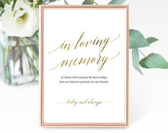 Faux Gold In Loving Memory Sign Template, Forever in Our Hearts, Printable In Loving Memory Sign, Faux Gold, PDF Instant Download, MM07-3
