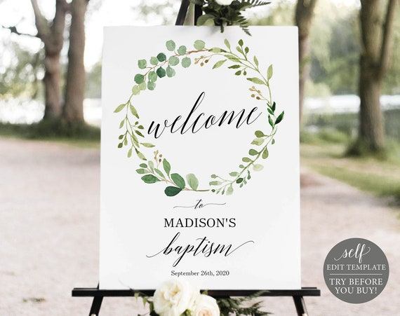 Baptism Welcome Sign Template, Editable Instant Download, TRY BEFORE You BUY, Greenery