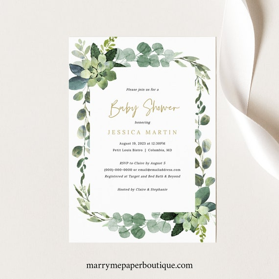 Lush Greenery Baby Shower Invitation Template, Printable Baby Shower Invite Card, Editable, Templett, INSTANT Download