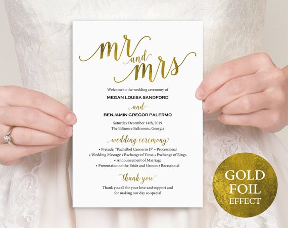Gold Wedding Program, Mr and Mrs, Wedding Program Printable, Wedding Program Template, Printable Program, PDF Instant Download, MM01-3