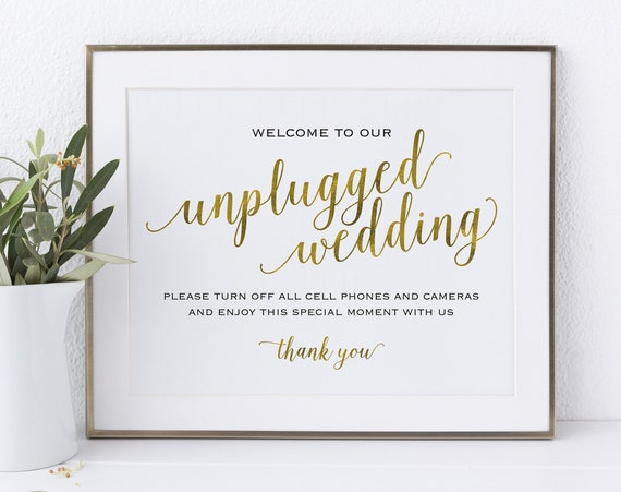 Gold Unplugged Wedding Sign, Turn off Cell Phones, Wedding Sign, Wedding Printable, Unplugged Sign, PDF Instant Download, MM01-3