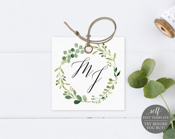 Monogram Tag Template, Greenery, Editable Instant Download, TRY BEFORE You BUY