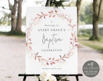 Baptism Welcome Sign Template, Order Edit & Download In Minutes, Try Before Purchase, Rose Gold Wreath