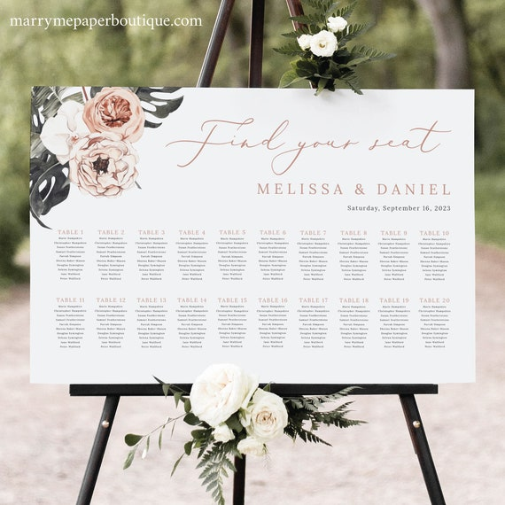 Wedding Seating Chart Template, Tropical Leaf, Dusky Pink Flowers, Printable Seating Plan Sign, Editable, Templett INSTANT Download