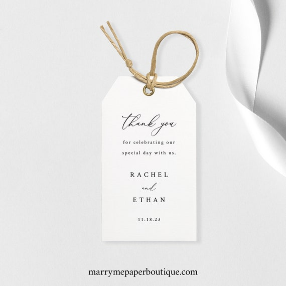 Wedding Favor Tag Template, Gift Tag, Printable, Elegant & Refined, Editable, Templett, INSTANT Download
