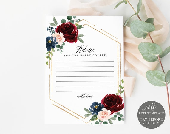 Advice Card Template, Demo Available, Editable & Printable Instant Download, Burgundy Navy