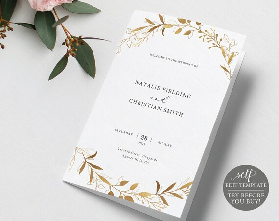 Catholic Wedding Program Template, Gold Wreath, Folded, 100% Editable Instant Download, TRY BEFORE You BUY