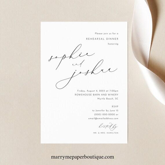 Rehearsal Dinner Invitation Template, Luxury Calligraphy, Elegant Wedding Rehearsal Dinner Invite, Printable, Templett INSTANT Download